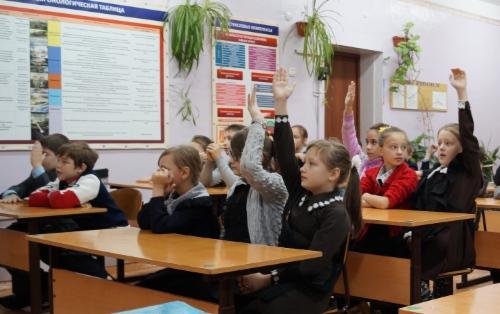 Вовремя открытого урока вп.Магистральном Казачинско-Ленского района. Фото Оксаны Ермаковой